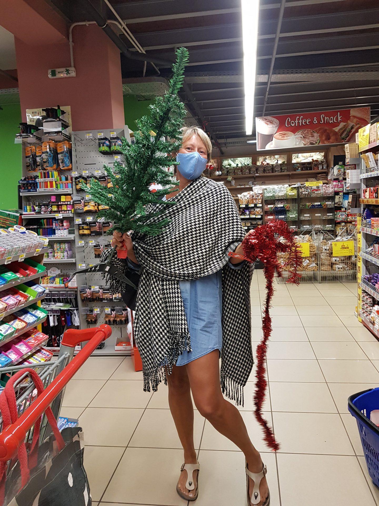 Christmas shopping Katerinas Supermarket Stoupa