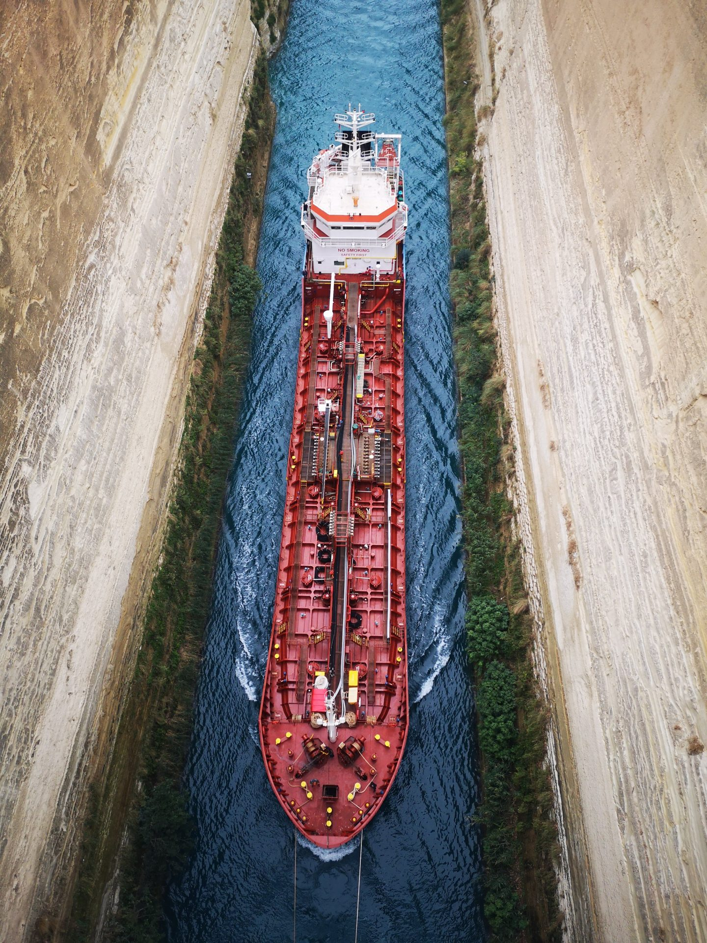 Tanker on the Corinth Canal. The Peloponnese